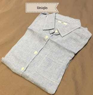 Uniqlo Checkered Linen Shirt Top