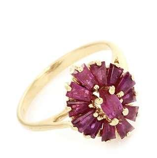 Gorgeous Ruby 14K Yellow Gold Cluster Ring
