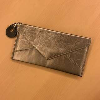 日款銅金色真皮長銀包 copper gold leather long wallet