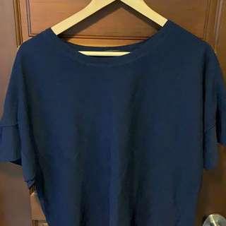 🚚 買4送1🙌🏻[二手出清]giordano ladies 深藍薄針織上衣#03