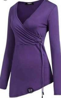 #dressforsuccess30 Aymes Vala purple wrap dress
