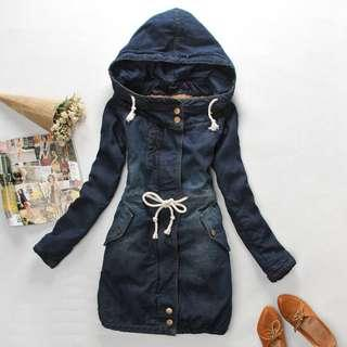 PO Jeans Jacket with Hoodies Dress