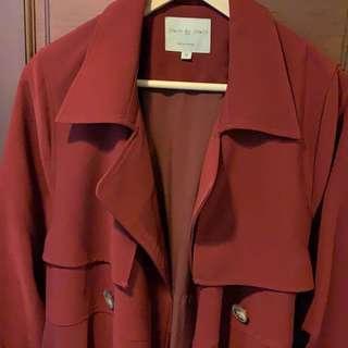 🚚 買4送1🙌🏻[二手出清]酒紅長版風衣外套