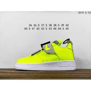 "耐克限定NIKE AIR FORCE 1 UTILITY QS""Volt""""熒光綠灰"