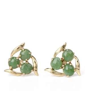 Vintage Green Jade 10K Yellow Gold Stud Earrings with Push Backs for Pierced Ears