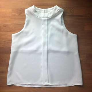 BN White High Neck Crop Top