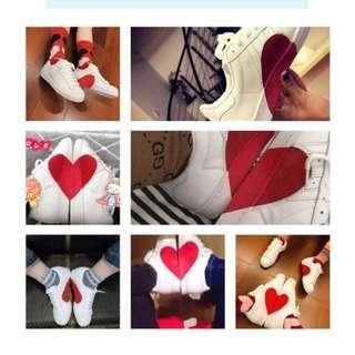 🚚 adidas愛心圖案情侶鞋 百搭小白鞋正韓時尚低幫男鞋平底鞋《42號》