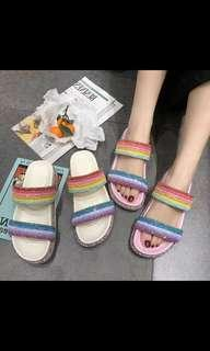 P/O rainbow cute pink/white slipper