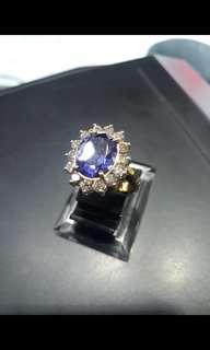 Cincin berlian asli dan batu biru kalimantan