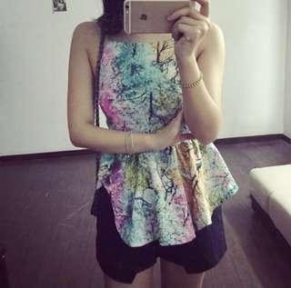 🚚 BN flutter lantern watercolor floral dyed overlap blouse top