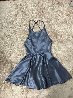 Satin backless skater dress