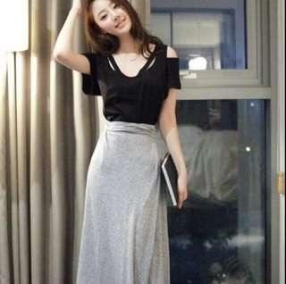 🚚 Top+bottom off shoulder blouse and maxi long grey skirt