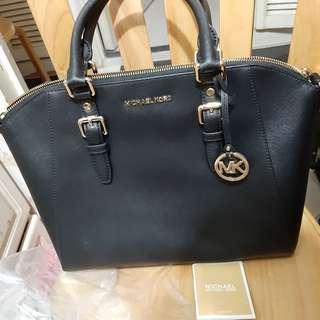 Michael Kors Ciara Large Saffiano Leather Satchel Handbag Black 手袋 OL 斯文
