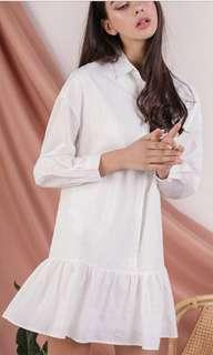 Tinsel rack DROP HEM SHIRT DRESS (WHITE)