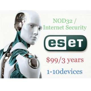 最強防毒軟件Nod32 Smart Internet Security Antivirus 1-10用戶 電腦 平板電腦 手機