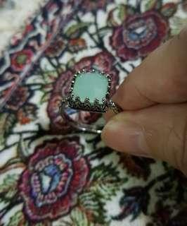 BN Korea Design Vintage Frosted Green Solitaire Ring