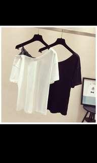 🚚 P/O Lace stitching strap v collar shoulder short sleeve T-shirt