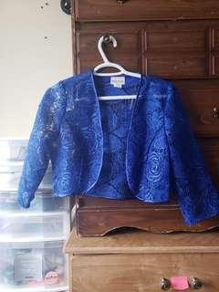 Blue patterned bolero
