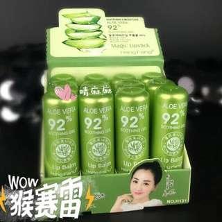 ✨晴麻麻✨蘆薈精華滋潤防水變色護唇膏 不掉色 不沾杯