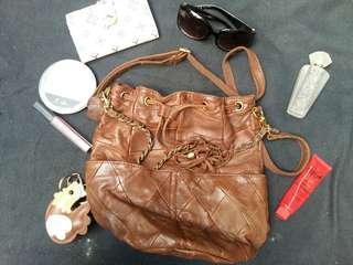 Genuine Soft Leather 2 Way Bucket Bag