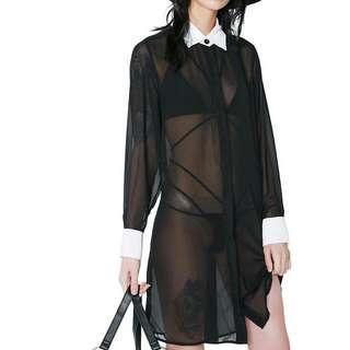 Wednesday Addams Sheer Long Sleeve Dress
