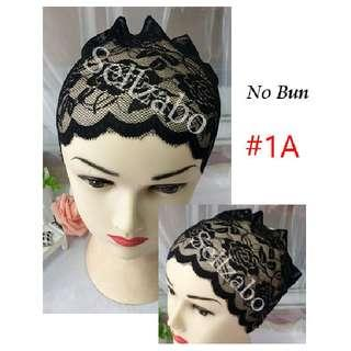 Black Stretchable Lace Head Hair Bands Colour Sellzabo Wear Inner Malay Muslim Muslimah Ladies Girls Women Female Lady Best Sellers