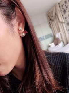 🚚 太美了❤️Dior 紅心大小珍珠耳環
