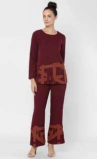Aere weave top maroon