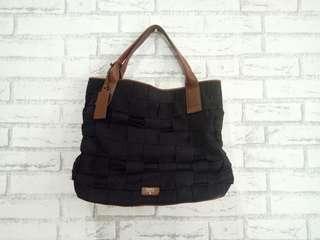 Fossil Black Woven Bag - Tas Branded Preloved