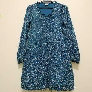 Blue with Pink Flower Blouse