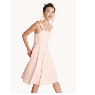Pomelo Ruffle Strap Square Neck Dress - Peach