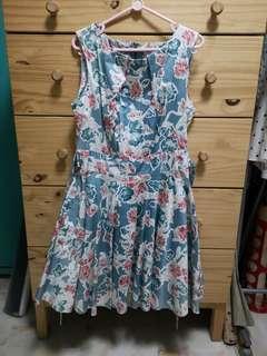Blue floral flare dress