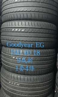 Goodyear EG 235-40-18 235/40/18 9成新 1套 包裝 2354018 長沙灣安裝 免費安裝戥呔 任何尺寸型號 歡迎24小時whatsapp查詢 以下面有連結