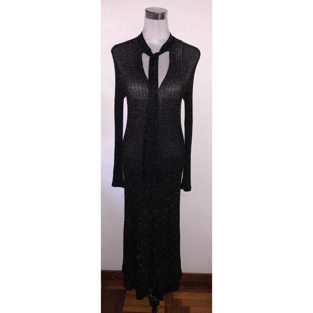 23eae4f7 Authentic Zara Black Knit Shimmer Maxi Dress #dressforsuccess30 ...