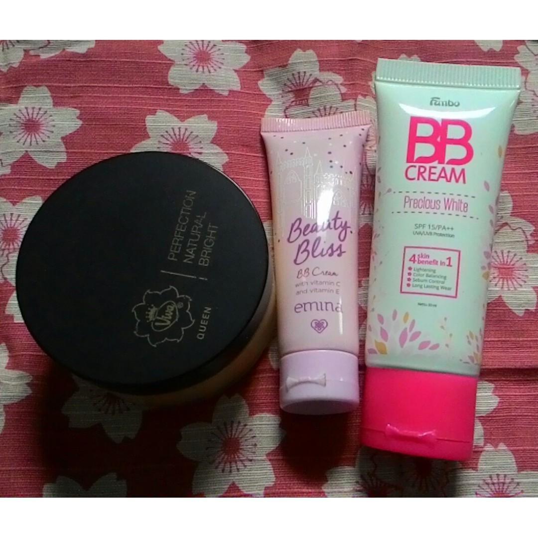 BB cream emina caramel, BB cream Fanbo Beige 02 dan Natural Bright Viva Queen Bedak Tabur Beige Bundle (kondisi 90%)