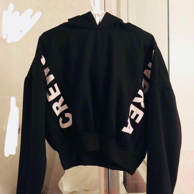 black cropped loose fluffy hoodie #SwapCA