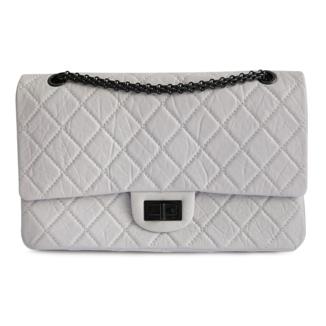 ba1fa607ada0 CHANEL 2.55 Reissue Flap Bag Size 227 in White Aged Calfskin