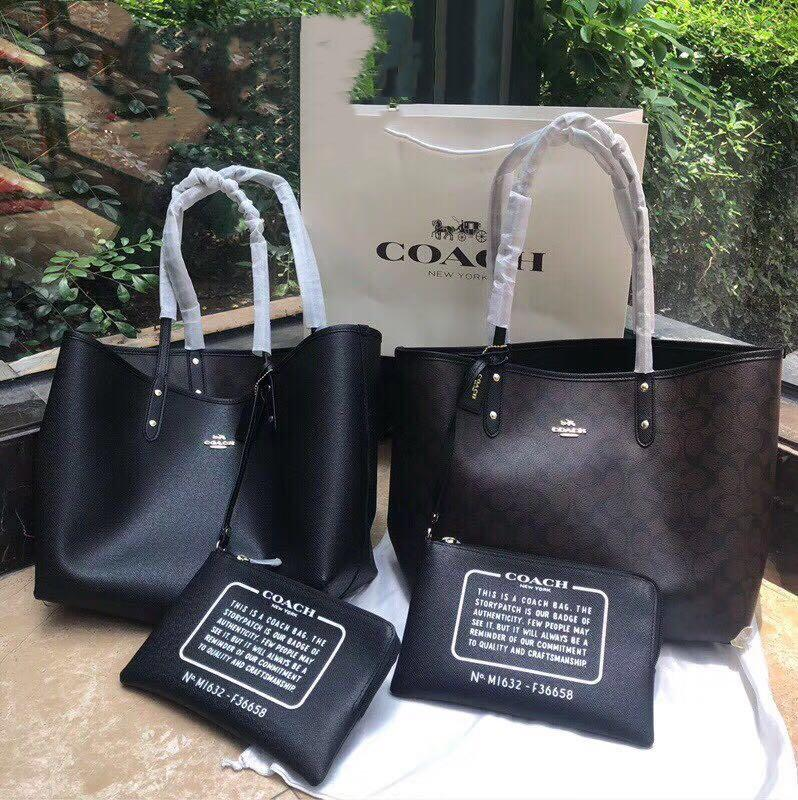 2bbb544c40b Coach large tote bag 2 size dark brown + black + free clutch ...