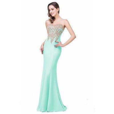 cde723f091ce dressforsuccess30 Light green long mermaid style Evening Gown ...