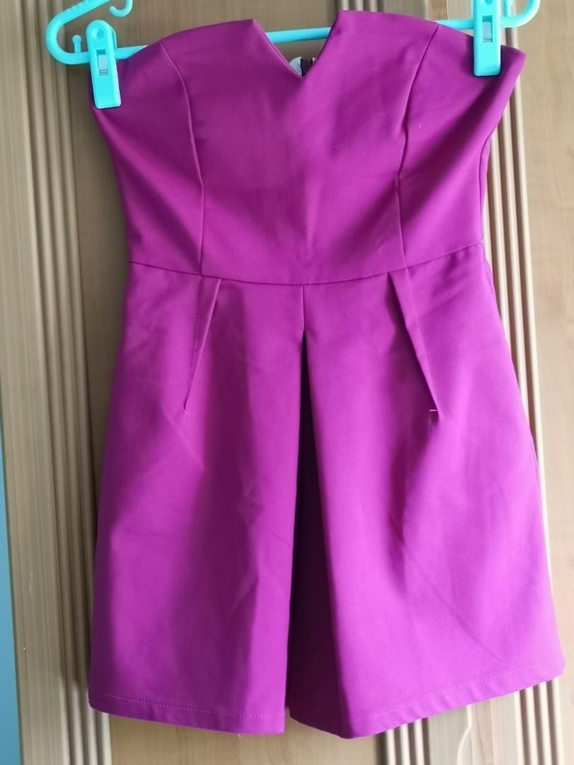 Fuchsia pink Tube Jumpsuit