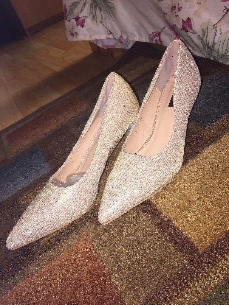 Golden shimmery wedding, night party , dinner wear shoe