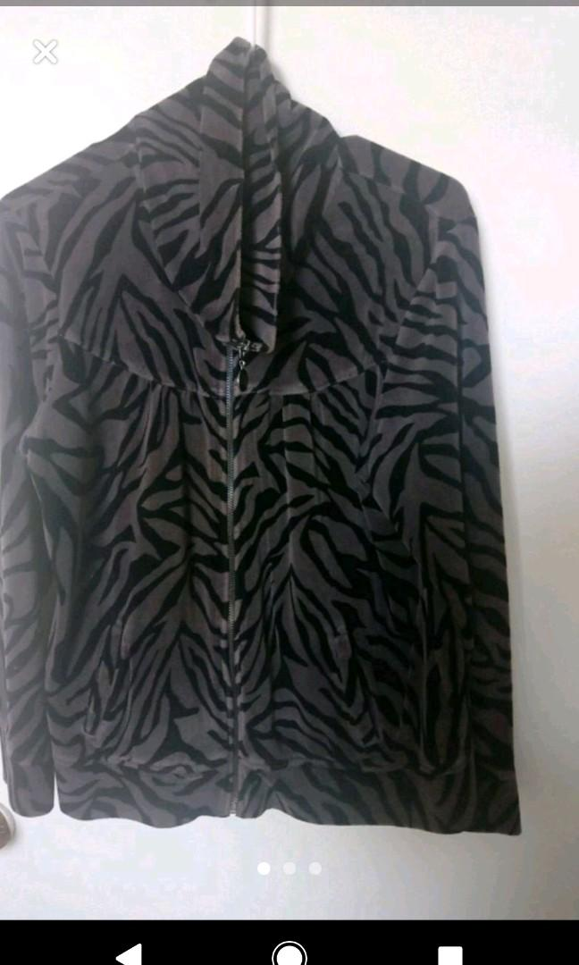 Grey $ Black Velour Zebra Print Sweater