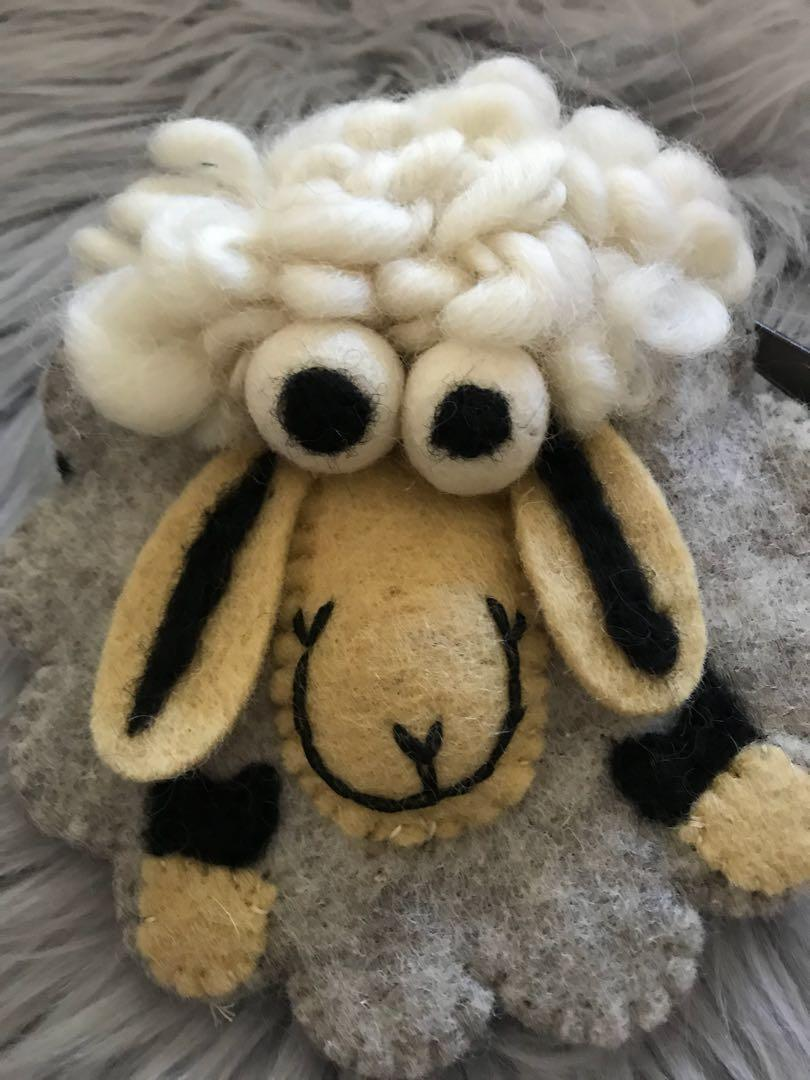 (Grey) Wool felt lamb Shaun cute sheep pack change coin card packet
