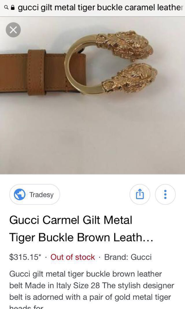 a00bb4c7d GUCCI gilt metal tiger buckle caramel leather belt AUTHENTIC (FAST ...