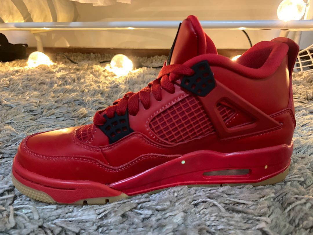 7556b285498f40 Jordan 4 Retro Fire Red Singles Day 2018 (W)