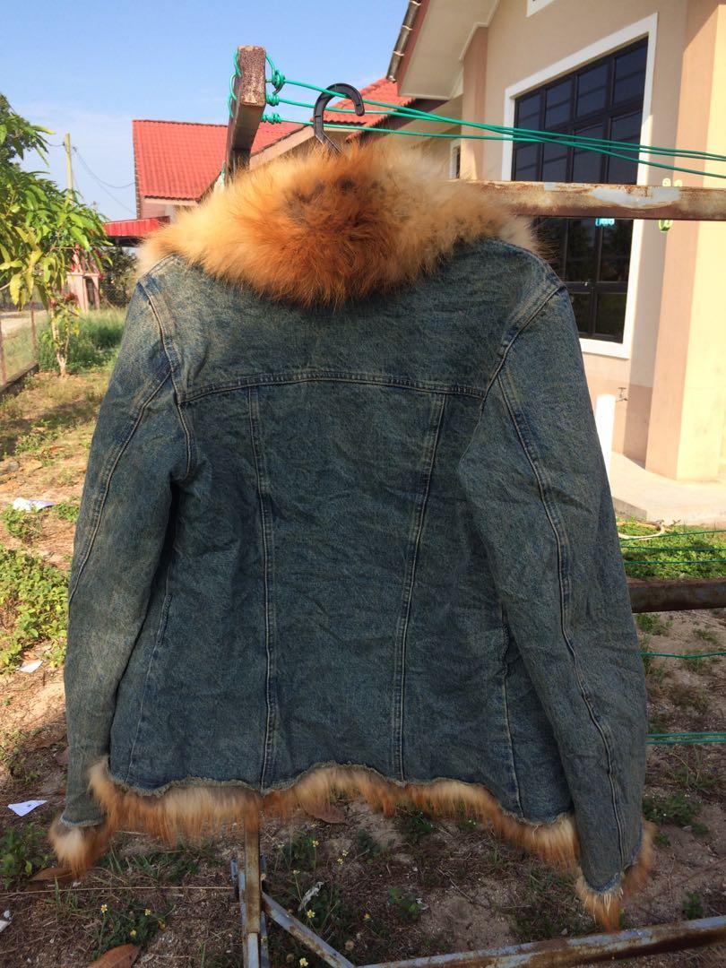 Luxury ERMANNO SCERVINO Blue Denim Jacket With Genuine Fox Fur Details Padded Lining