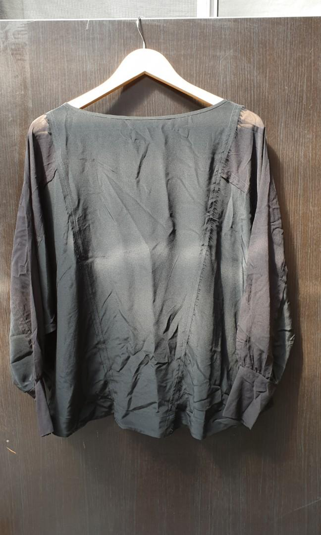 Manning Cartell silk top with contrast fabric sleeve