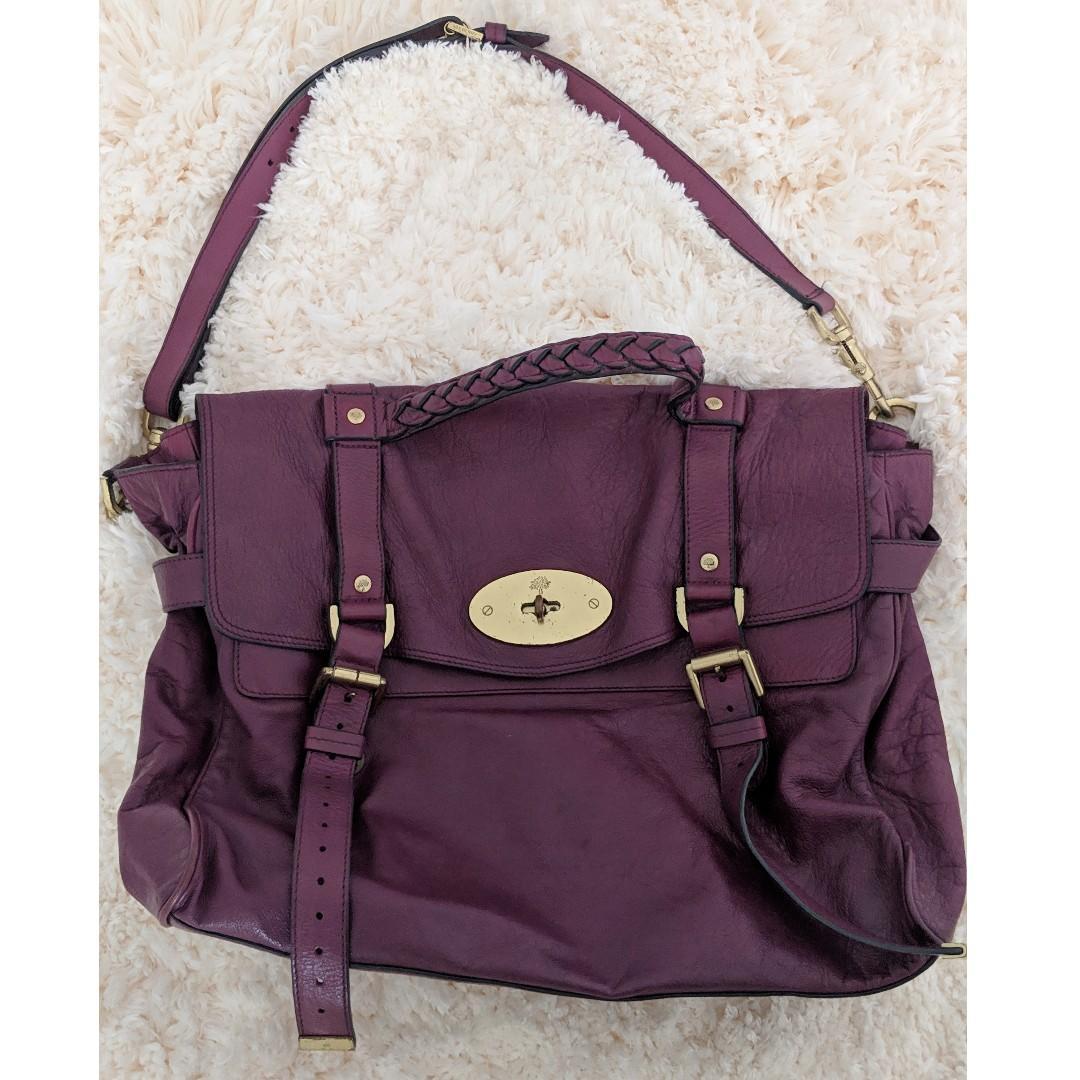 Mulberry Alexa Soft Plum Purple Buffalo Leather Messenger Bag - AUTHENTIC