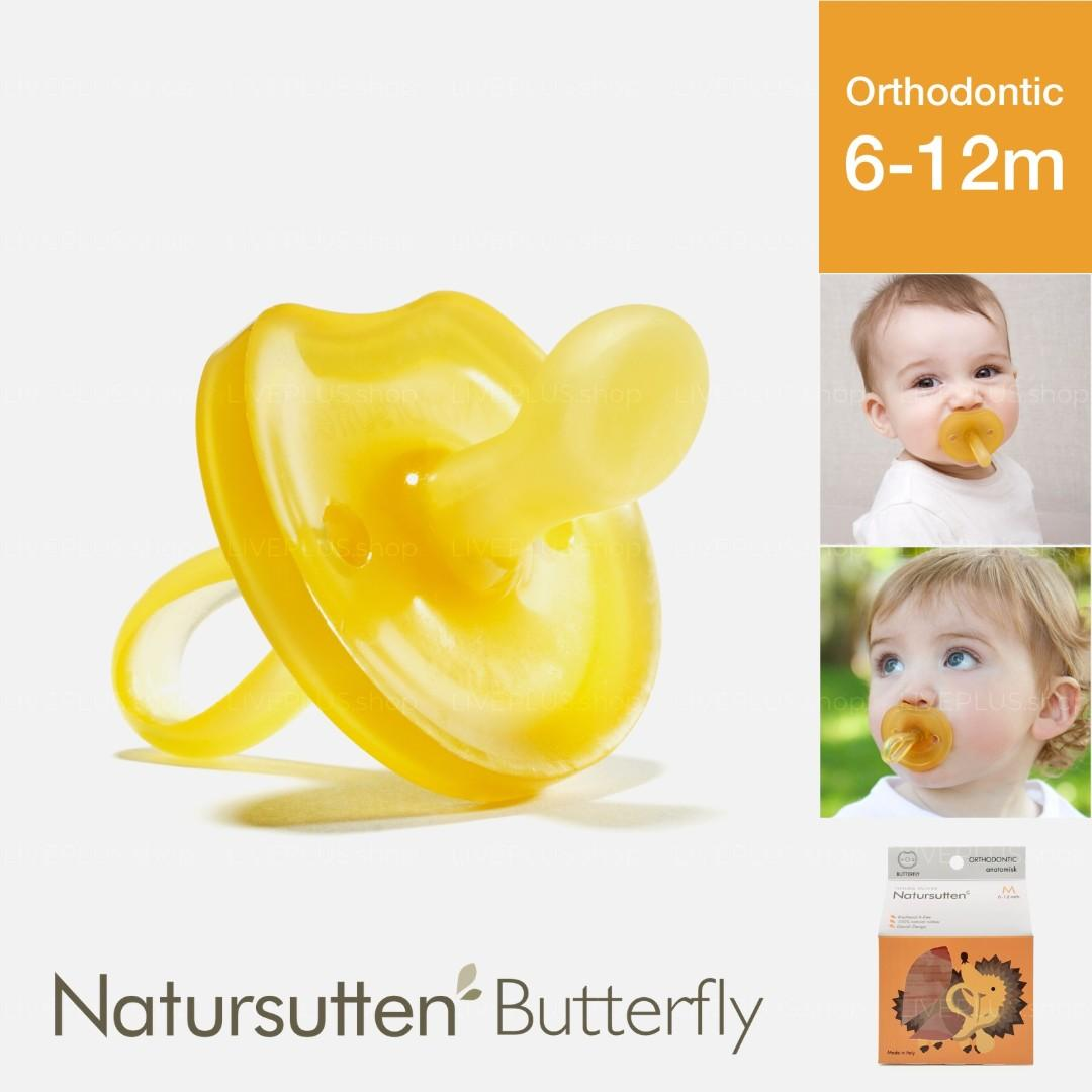 Natursutten Butterfly Orthodontic Natural Pacifier, M (6-12 Months) — Italy Ergonomic Eco Friendly For Baby Babies Infant Newborn Toddler Rubber Latex Non-Toxic Plastic Free Safe Ventilated Teat Shield Binky Dummy Soother Teether Puting Kuning 扁头 天然橡胶 奶嘴