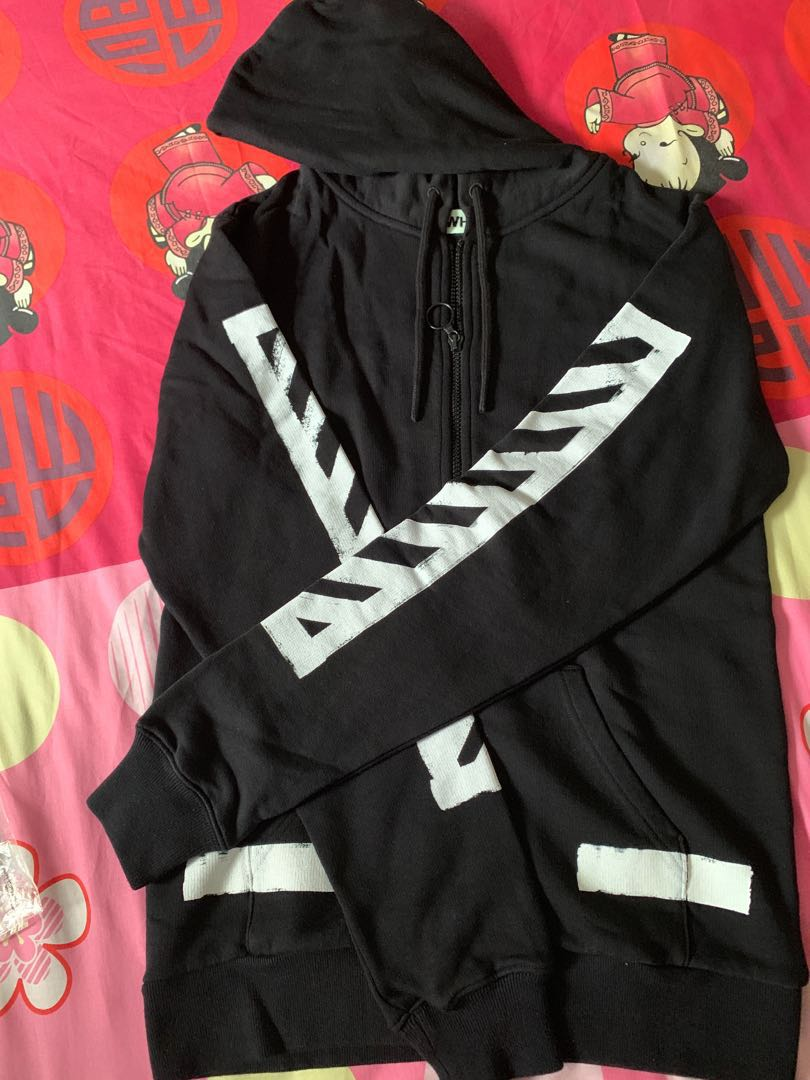 ea705958057a Off-White Diagonals Zip Hoody Black XS Bape Nbhd Wtaps